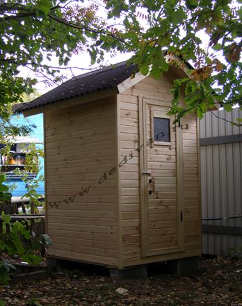 деревянный туалет для дачи - квадрат